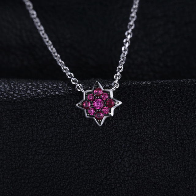 0.2ct Created Ruby Flowers Necklace With Chain 1