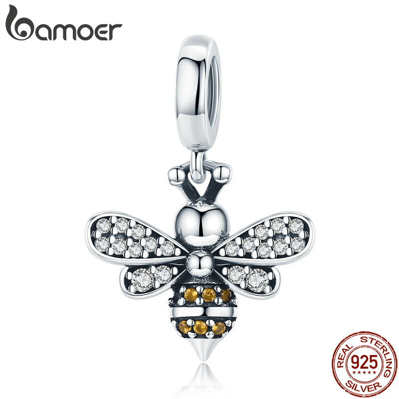073b7534c BAMOER 925 Sterling Silver Crystal Bee Luminous CZ Crystal Charm fit Women  Charm Bracelets DIY Jewelry Girlfriend Gift SCC821