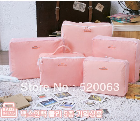 Free shipping Retail ! NEW waterproof Organizer Traveling Bag in Bag , drop shipping , 5pcs/set , 5colors Admission package