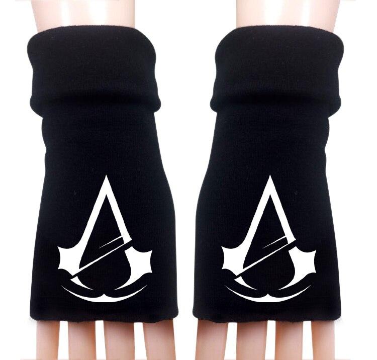 Mulheres dos homens Dos Desenhos Animados Anime Jogo Assassins creed  Impresso Inverno Quente Metade Dedo de Luva Cosplay Acessórios em Luvas    Mittens de ... 2b5d7e94121fc