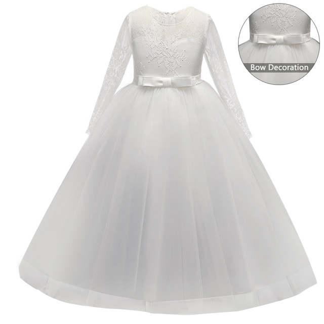 27f534a904c placeholder 5-14Y enfants filles longue dentelle blanche fleur fête robe de bal  robes de bal