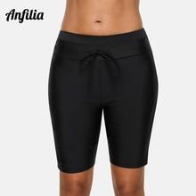 Anfilia Women Capris Pants Bikini Bottom Swim Trunks Swimwear Briefs Slim Swimsuit Bandage Adjustable Swimming