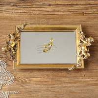 Cocostyles InsFashion luxury and vintage metal silver mirror tray with child model for cosmetic storage or royal style hotel