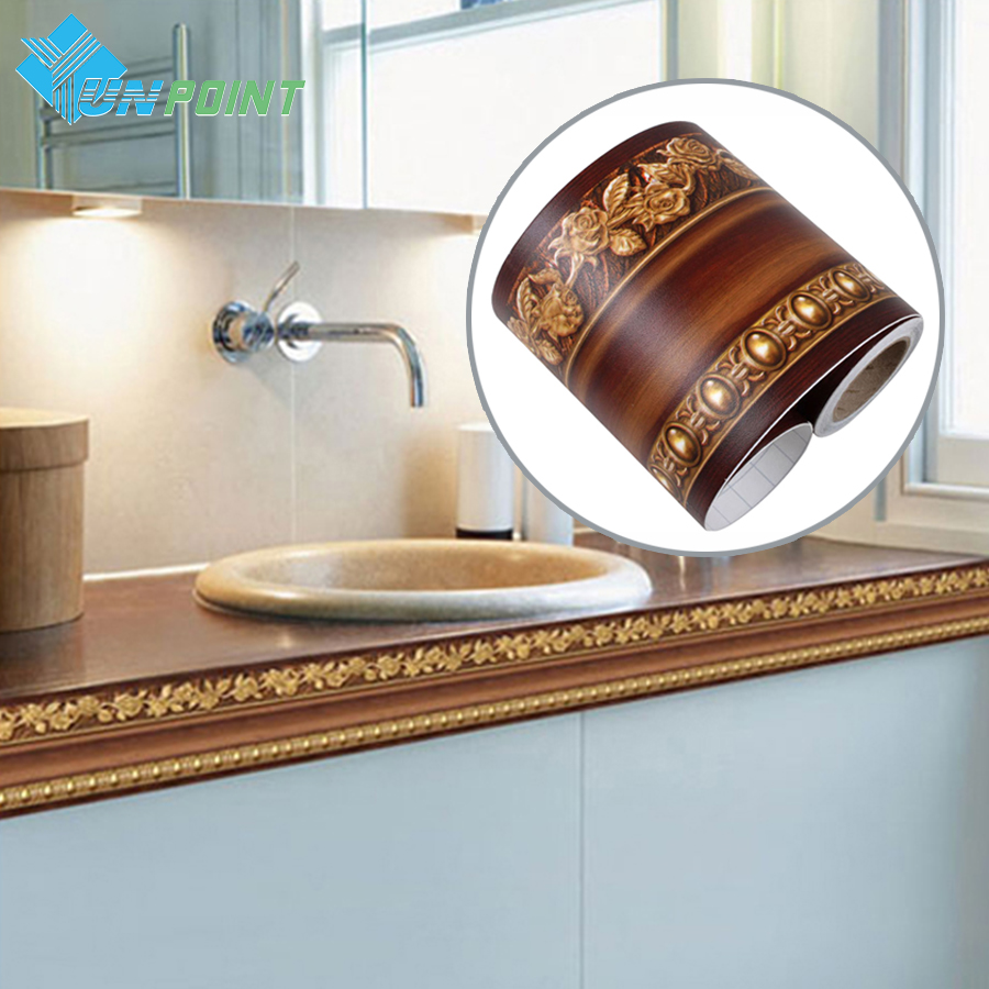 10cmx4m classic wall sticker pvc kitchen waistline self adhesive wallpaper roll bathroom tile waterproof wallpapers border