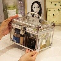 Acrylic Makeup Box Organizer With Lock Aluminium Alloy Makeup Organizer Clear Silvery Black Cosmetic Case Makeup