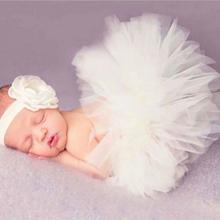 Baby Newborn Photography Props Accessories Baby Tutu Skirt Handmade Baby Rainbow Tutu Skirt Fotografia Baby Photo Props cheap CN(Origin) Acrylic Baby Girls Mesh Floral MY0659 Headbands 0-1M
