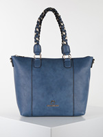 Faux leather tote bag blue