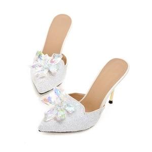 Image 4 - MORAZORA Summer sandals women shoes rhinestone thin high heels shoes 9.5cm party shoes elegant pointed toe large size 34 43