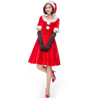 Female Sexy Cute Short Sleeves Red Christmas Strip Dress Cosplay Disfraces Occident Christmas Party Clothes Santa Claus HC24