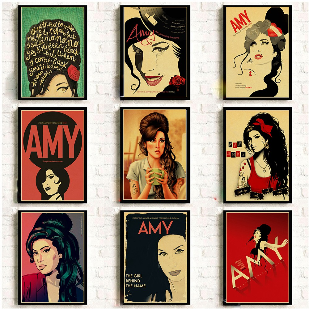 Amy Winehouse Vinatge Poster Famous Music Singer Posters And Prints Kraft Paper Art Painting Home Room Decor Wall Sticker