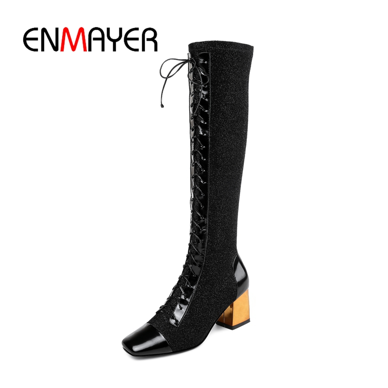 ENMAYER 2018 New Arrival top quality women square toe lace up knee high boots lady color block high heel boots ZYL735 цена 2017