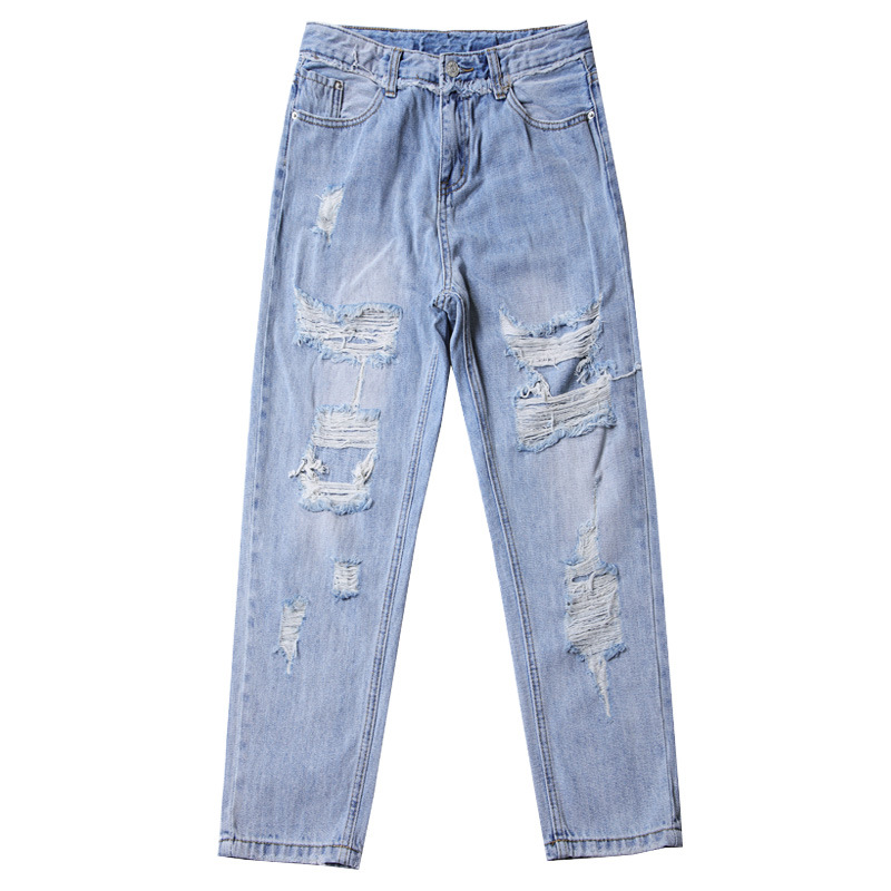 Blue Loose Vintage High Waist Ripped Jeans For Women 11