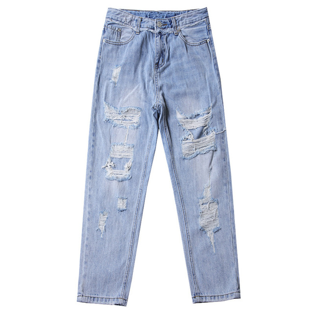 Ripped Jeans For Women Blue Loose Vintage Female Fashion Women High Waist New Style Baggy Mom Jeans Women Pants Casual Jeans 8
