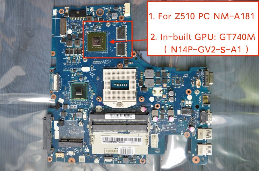 Free Shipping For Lenovo Z510 Laptop Motherboard AILZA NM-A181 With GT740M Video Card 2GB