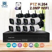 ZSVEDIO Surveillance System Security IP Camera WiFi 8CH H.264 PTZ 1080P 4X Zoom NVR Kit Video Set outdoor CCTV System Camera