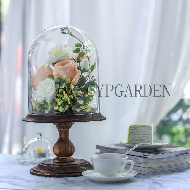 Gl Dome With Wood Base Large Pedestal Clear Cloche Bell Jar Display Stand For Rose Home