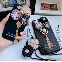 For iPhone 7 Case 3D Fabric Flower Pendant Tassel The ideal Love Soft Silicone Case For iPhone 7 Plus Case Luxury For 6 6S Plus