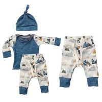 3PCS Kids Boys Girls Clothing Sweatshirt Bottoms Pants Hat Clothes Set Spring Summer Newborn Baby Cloth