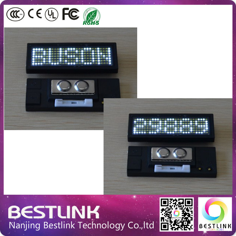 B729 rechargeable scrolling magnetic name badge programemable led ...