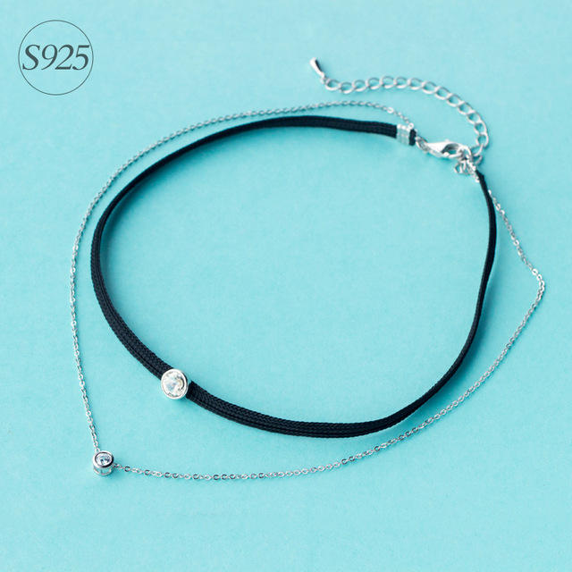 925 Sterling Silver Double Row Necklace Choker