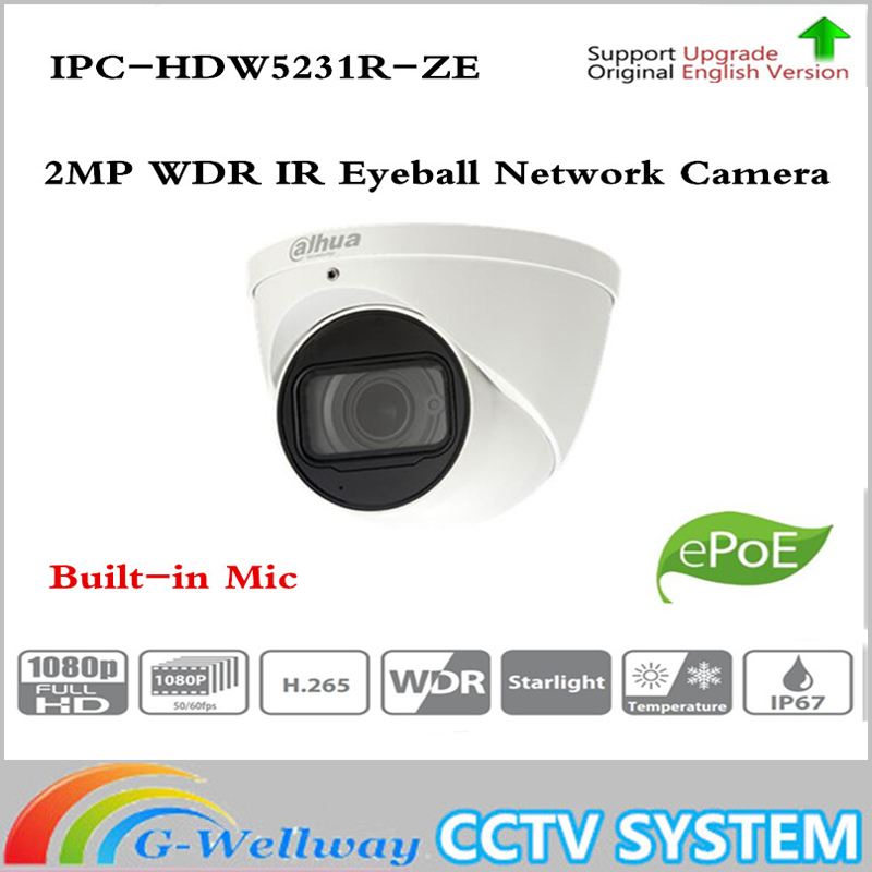 Original ahua IPC-HDW5231R-ZE 2MP WDR IR Eyeball Network Camera 2.7mm ~12mm motorized lens CCTV IP POE IR Dahua-IPC-HDW5231R-Z 15pcs lot free dhl shipping dahua 3 0mp 2 7mm 12mm motorized network ir bullet camera security ir water proof ipc hfw2300r z