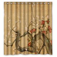 Vintage Design New Style Japanese Flowers Art Polyester Bathroom Custom Shower Curtain Bathroom Decor Polyester Shower Curtain 6