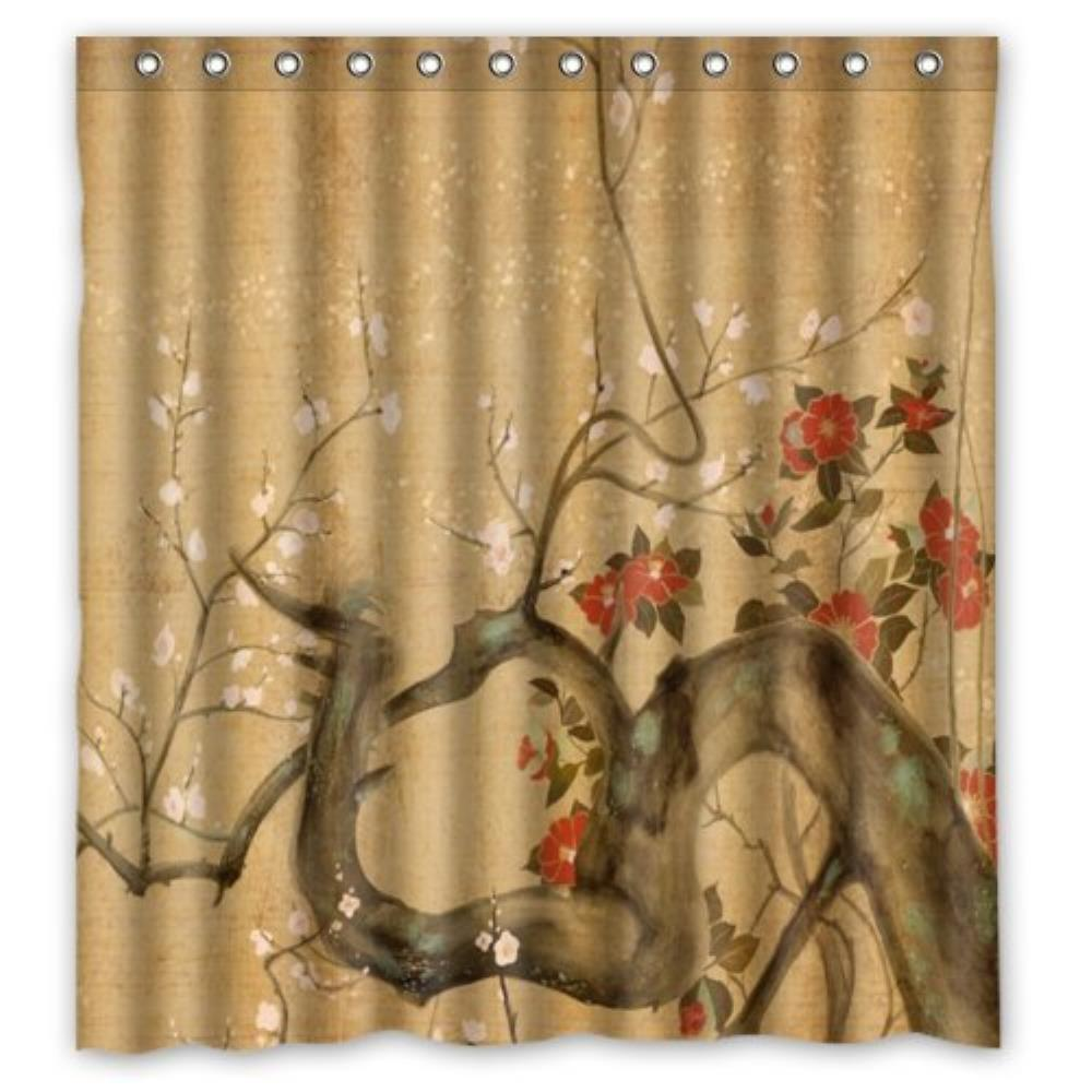 Vintage Design New Style Japanese Flowers Art Polyester Bathroom Custom Shower Curtain B ...