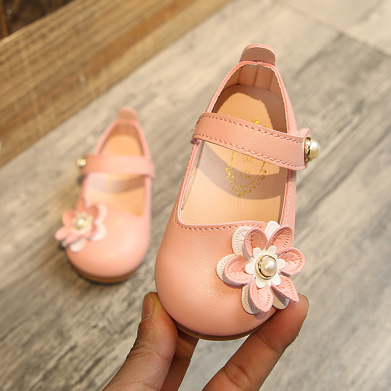 Baby Toddler Girl Shoes Elegant Pearl Flower Birthday Party Princess Shoes Children Brand Newborn Kids Baby Girls Leather Shoes