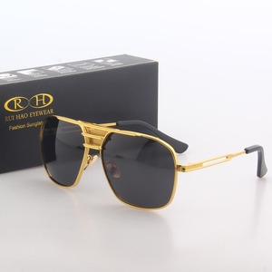 Image 2 - Polarized Sunglasses Men Double beam Retro Design Driving Sun Glasses Man Pilot Sunglasses Anti UV lentes de sol hombre PE200