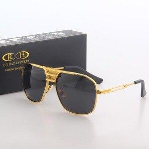 Image 2 - Óculos de sol polarizados homens duplo feixe retro design condução óculos de sol homem piloto óculos de sol anti uv lentes de sol hombre pe200