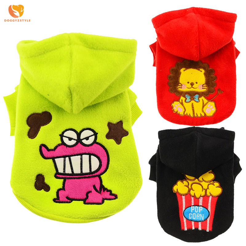 Cartoon Embroidered Dog Coat Autumn Winter Animal Pattern Pet Hooded Sweater Puppy Cat C ...