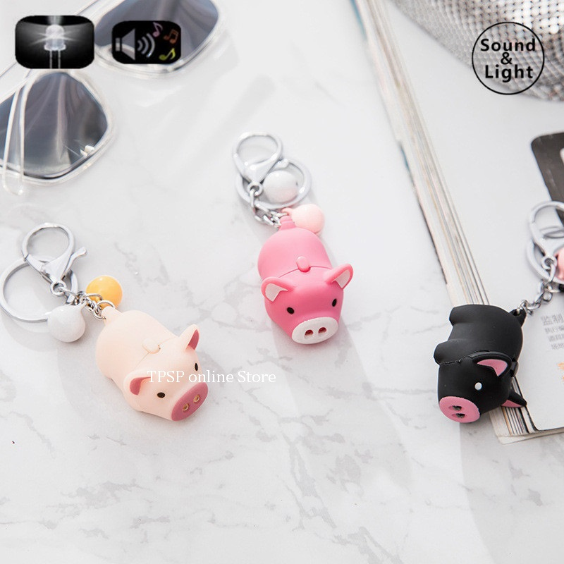 cartoon series The pig LED sound and light key chain holiday party gifts kid toys