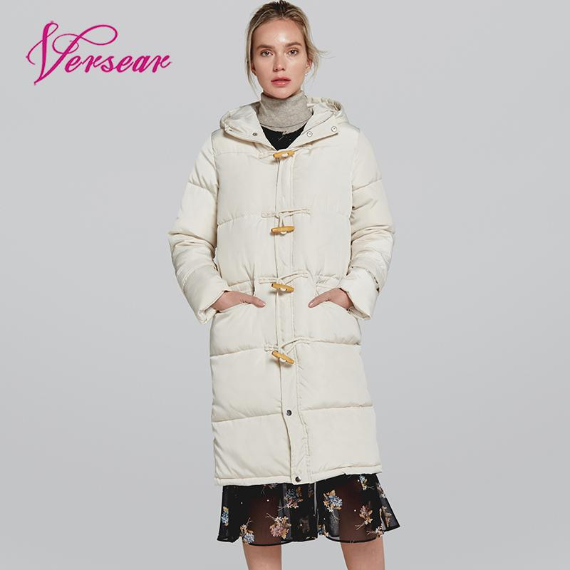 Versear 2019 Long Warm   Down     Coat   Winter Thick Puffer Jacket Women Solid Hooded Horn Button Parka   Coat   Pocket White Dowm Jacket