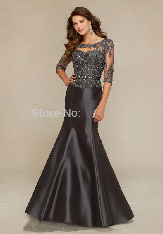 Мода черный русалка мама Невесты Платье 2016 лодка шея аппликации кружева black satin формальное вечернее платье vestido де феста