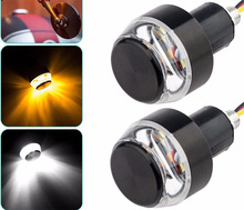 A Pair of Motorcycle Handlebar Tail Light Turn Yellow Universal Indicator Flasher Headlights