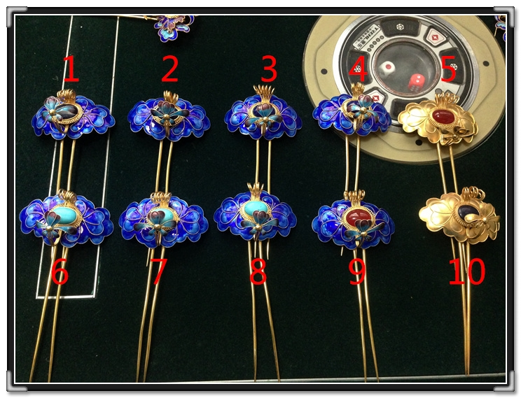 Minority Miao 999 Fine Silver Gold Plated Cloisonne Hair Stick Pure Handmade Antique Pinach Artwork Miao Hair Accessories кольцо hob 925 anillos bague tfsjr004