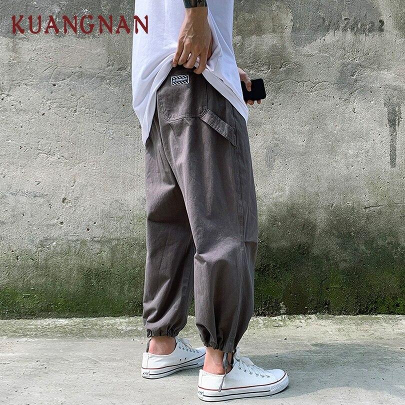 KUANGNAN Joggers Pants Trousers Men Fashions New Hip-Hop 5XL Ankle-Length Wide-Legs