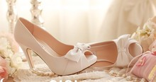 2016 Spring And Summer White Bridal Wedding Shoes High Heel Shoes Peep Toe  Genuine Leather Fashion Dress Shoes