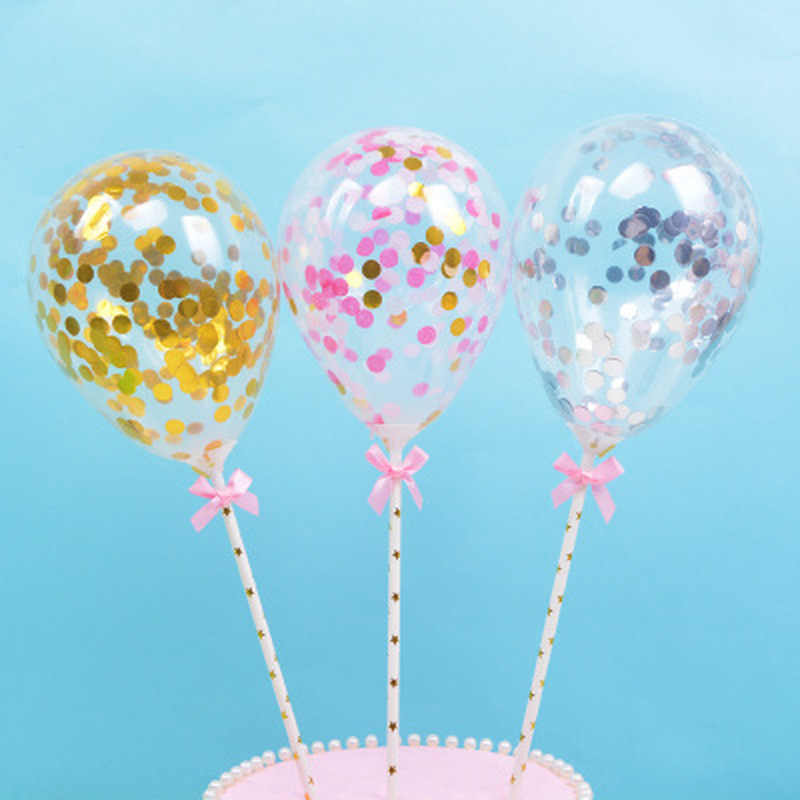 1pc Confetti Dots Balloon Cake Topper Decoration with Paper Straw Ribbon Table Baby Shower One Birthday Wedding Party Supplies