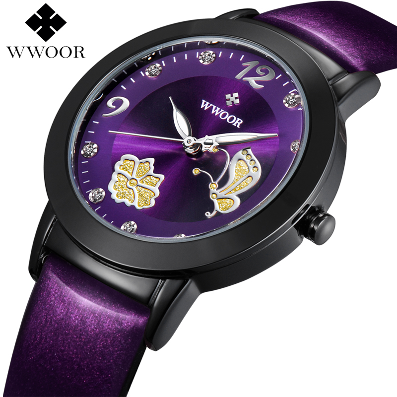 купить WWOOR Brand Luxury Women Watches Flowers Butterfly Relogio Feminino Leather Clock Purple Wristwatch Ladies Quartz Watch Fashion по цене 878.53 рублей