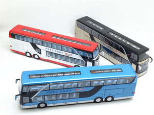 Image 3 - High quality 1:32 alloy pull back bus model high simitation Double sightseeing bus flash toy vehicle kids toys free shipping