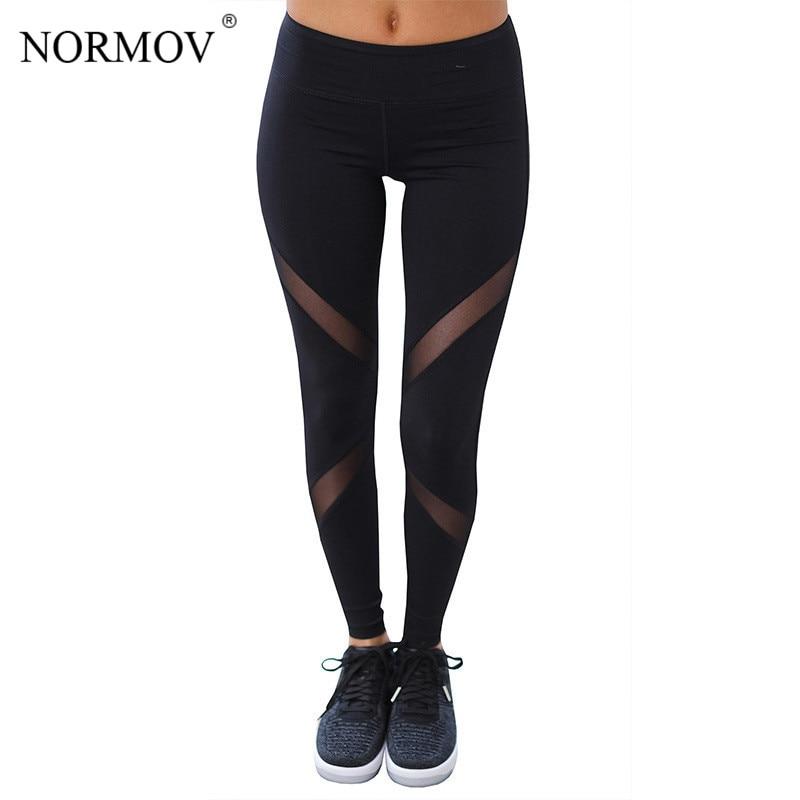 1cc28a8743152 NORMOV Women Sexy Mesh Leggings Fashion High Waist Push Up Workout Leggings  Activewear Polyester Black Leggings S-XL 6 Colors