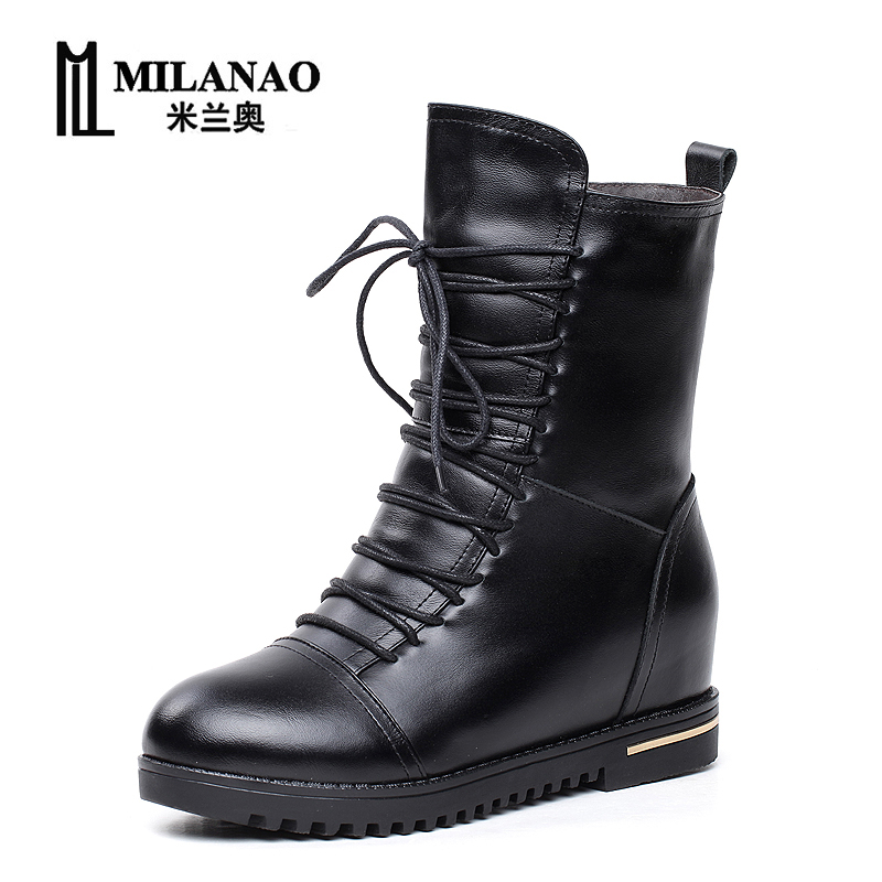 2017 Women fashion Vintage Genuine Leather Boots Autumn winter Fashion Platform Ankle Boots Casual Warm Boots Shoes front lace up casual ankle boots autumn vintage brown new booties flat genuine leather suede shoes round toe fall female fashion