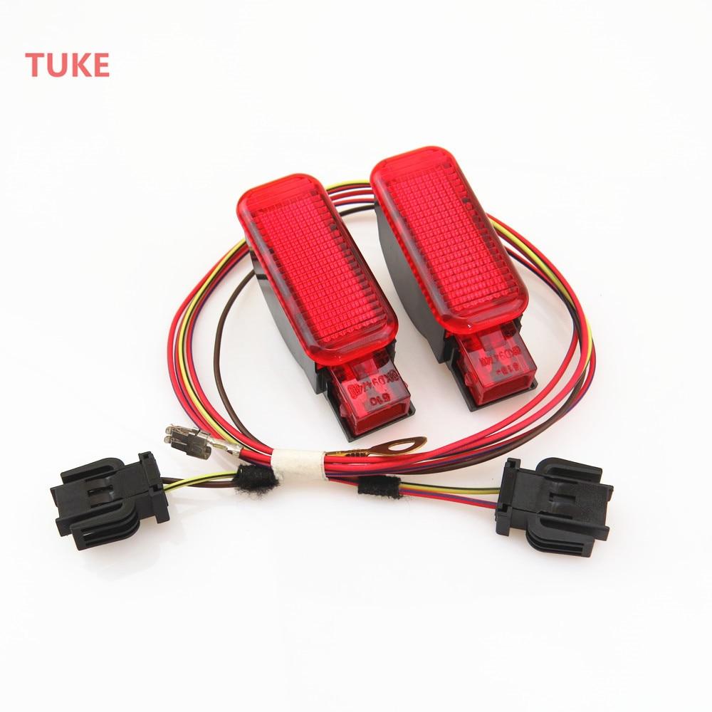 TUKE 1Set Red Warning Light Door Panel font b Interior b font Connection Cable Harness Plug