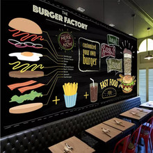 Custom wallpaper mural hand-painted burger fast food restaurant snack bar background wall - high-grade cloth