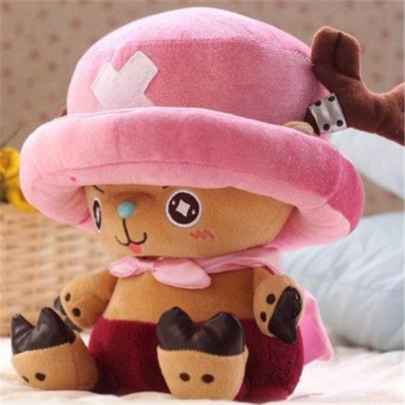 Stuffed Cartoon Toys Sitting Size 30cm Kawaii One Piece Tony Tony Chopper Plush Doll Soft Toys for Children New Year's gift hot sale cute cartoon animal hats one piece chopper plush cosplay hat after pink color plush soft caps earmuff