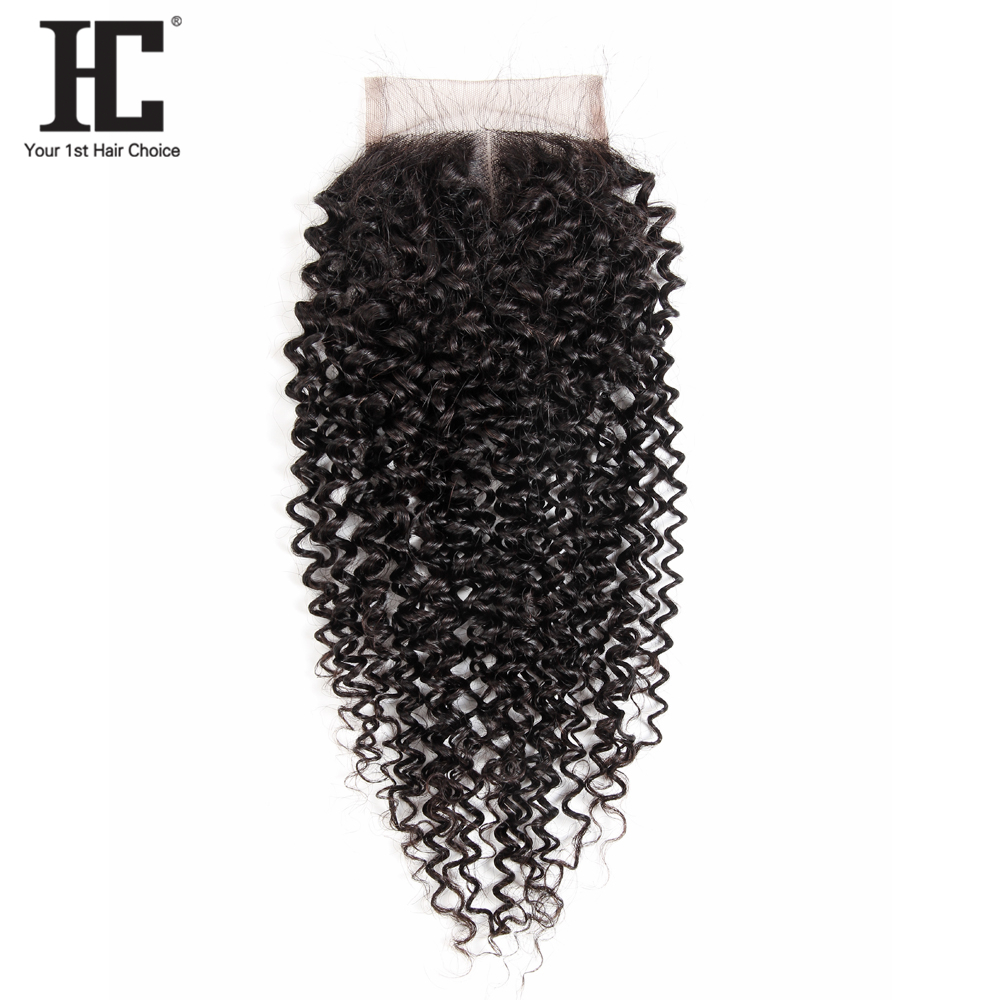 HC Hair Kinky Curly Closure 8-20 inch 4*4 Inch Remy Human Hair Kinky Curly Lace Closure Free Shipping Natural Black Color