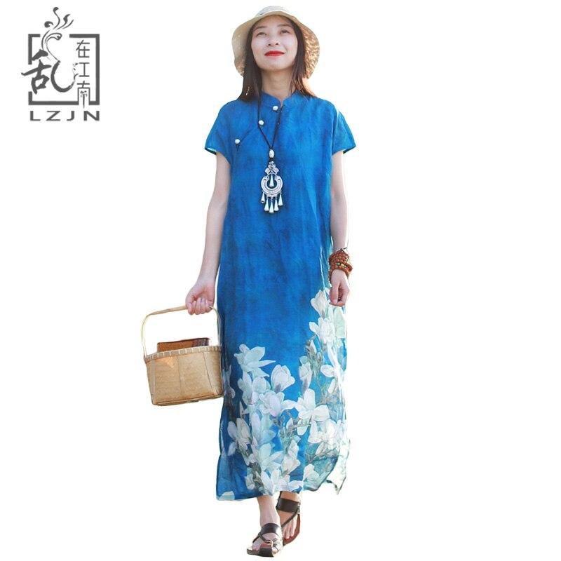 LZJN Long Summer Dress 2019 Short Sleeve Contrast Collar Mangnolia Flower Robe Femme Side Split Long
