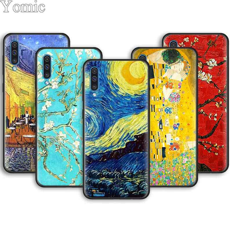 Nuit étoilée de Van Gogh Peinture Souple Téléphone étuis pour samsung Galaxy A6 A7 A8 Plus A9 A10 A20 A30 A40 A50 A70 M30 M20 Boîtier Noir C