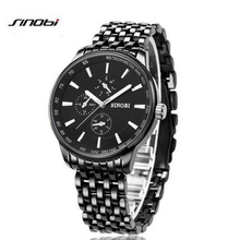 SINOBI Moda Negro Hombres Reloj de Acero Inoxidable Reloj Hombres de Lujo del Reloj Para Hombre Relojes Impermeables Hombres Reloj saat relogio masculino
